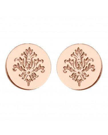 Kolczyki kółeczka z rozetą z różowego złota