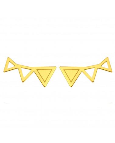 Złote kolczyki trzy trójkąty