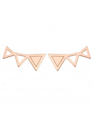 Kolczyki trzy trójkąty  z różowego złota