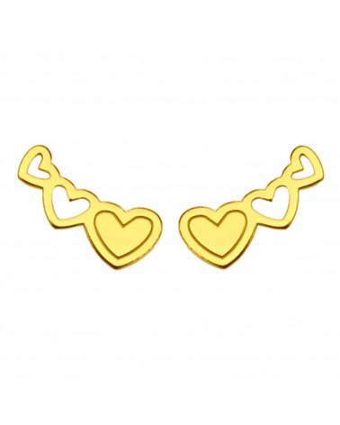 Złote kolczyki trzy serduszka