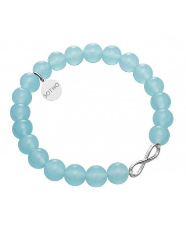 Niebieska bransoletka kwarc niebiański symbol nieskończoności infinity srebro 925