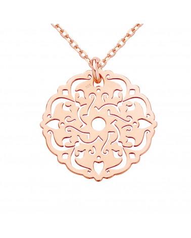 Naszyjnik z rożowego złota z rozetką