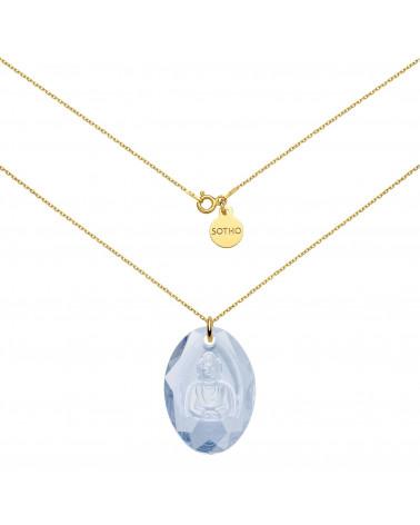 Długi złoty naszyjnik z niebieskim Buddą SWAROVSKI® CRYSTAL