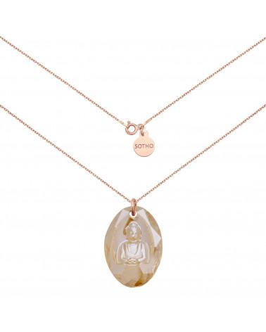 Długi naszyjnik z różowego złota ze złotym Buddą SWAROVSKI® CRYSTAL