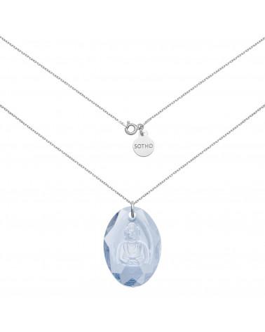 Długi srebrny naszyjnik z niebieskim Buddą SWAROVSKI® CRYSTAL