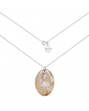 Długi srebrny naszyjnik ze złotym Buddą SWAROVSKI® CRYSTAL