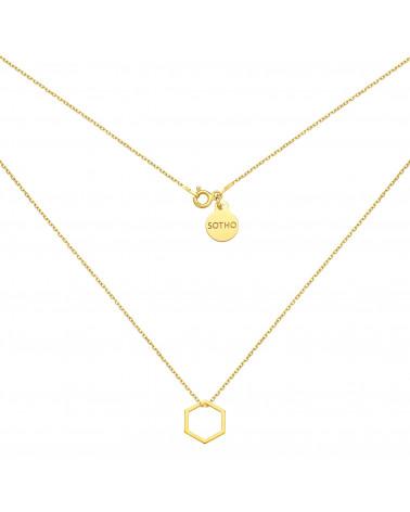 Złoty naszyjnik z sześciokątem