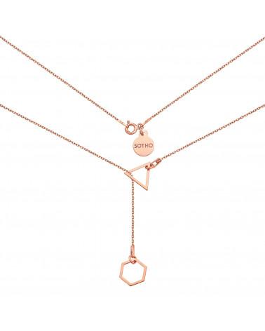 Regulowany naszyjnik z sześciokątem i trójkątem z różowego złota