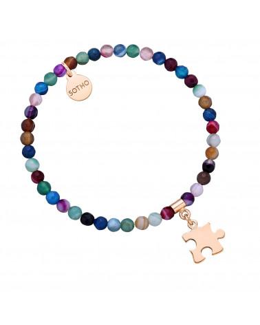 Kolorowa bransoletka z fasetowanego agatu z puzzlem  z różowego złota