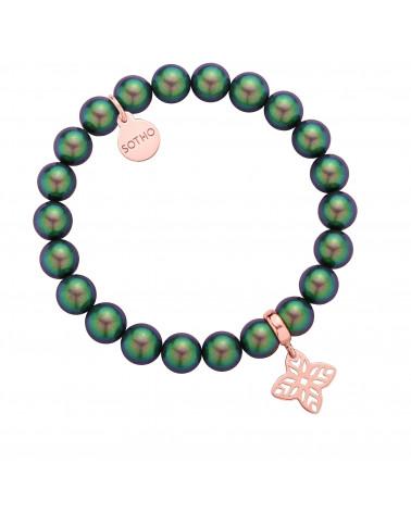 Zielona bransoletka z pereł SWAROVSKI® CRYSTAL z rozetką z różowego złota