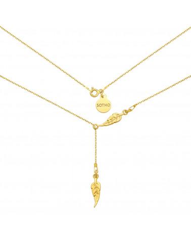 Złoty regulowany naszyjnik z piórkami