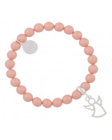 Łososiowa bransoletka srebrny aniołek Pink SWAROVSKI® ELEMENTS