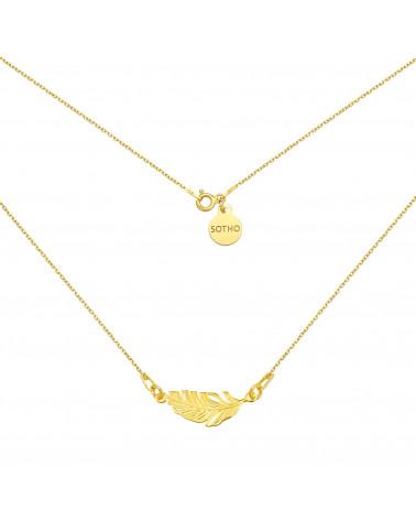 Złoty naszyjnik z piórkiem