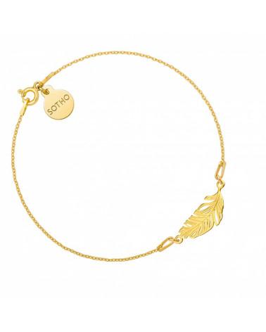 Złota bransoletka z piórkiem