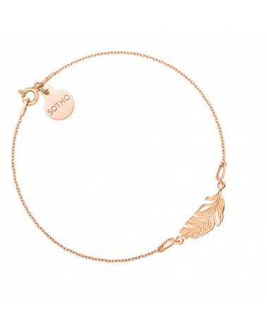 Bransoletka z różowego złota z piórkiem