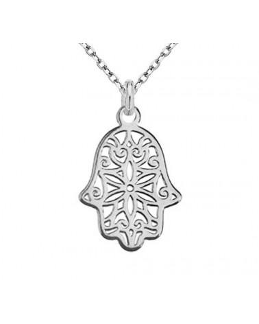 Srebrny naszyjnik z ręką Fatimy
