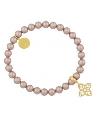 Pudrowa bransoletka perły SWAROVSKI® CRYSTAL ze złotą rozetą
