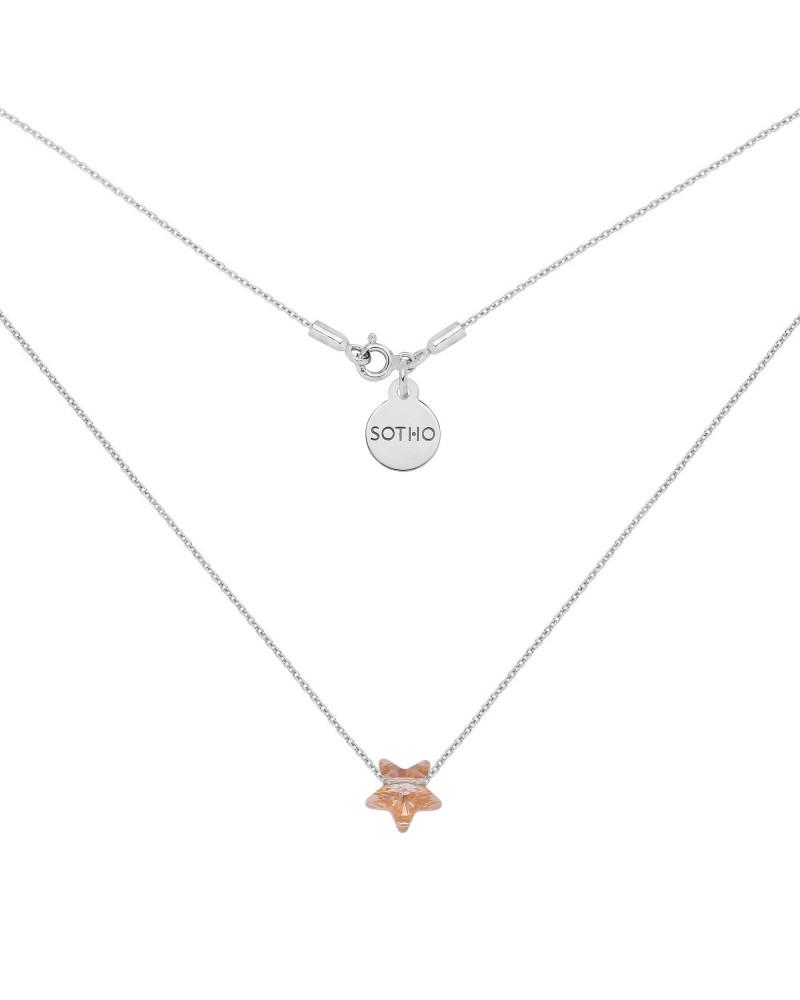 Srebrny naszyjnik ze złotą kryształową gwiazdką SWAROVSKI® CRYSTAL