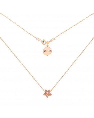 Naszyjnik z różowego złota ze złotą kryształową gwiazdką SWAROVSKI® CRYSTAL
