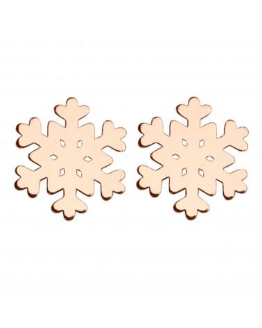 Kolczyki śnieżynki z różowego złota