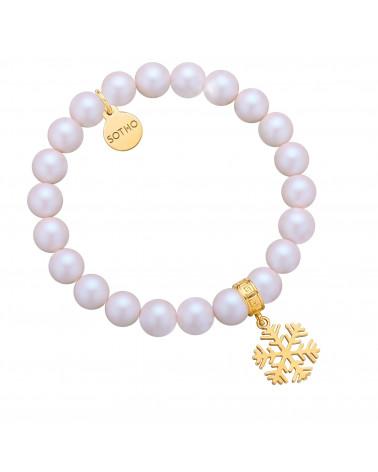 Perłowa bransoletka z opalizujących pereł SWAROVSKI® CRYSTAL ze złotą śnieżynką
