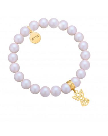 Perłowa bransoletka z pereł SWAROVSKI® CRYSTAL ze złotym ażurowym aniołkiem