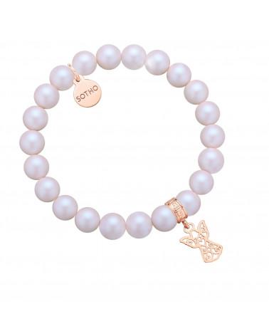 Perłowa bransoletka z pereł SWAROVSKI® CRYSTAL z ażurowym aniołkiem z różowego złota
