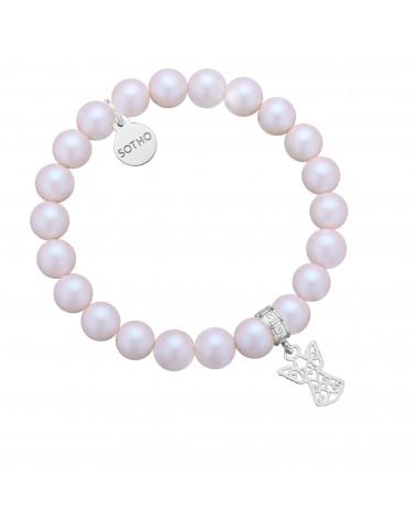 Perłowa bransoletka z pereł SWAROVSKI® CRYSTAL ze srebrnym ażurowym aniołkiem