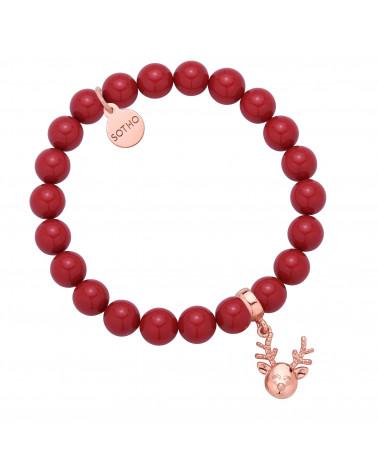 Czerwona bransoletka z pereł SWAROVSKI® CRYSTAL z reniferkiem z różowego złota