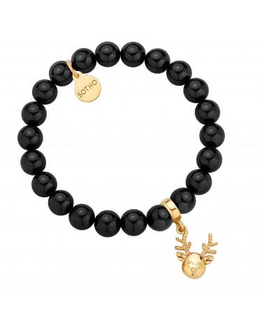 Czarna bransoletka z pereł SWAROVSKI® CRYSTAL ze złotym reniferkiem