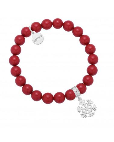 Czerwona bransoletka z pereł SWAROVSKI® CRYSTAL ze srebrną śnieżynką