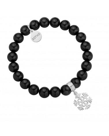Czarna bransoletka z pereł SWAROVSKI® CRYSTAL ze srebrną śnieżynką