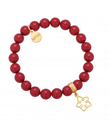 Czerwona bransoletka z pereł SWAROVSKI® CRYSTAL ze złotą ażurową gwiazdką