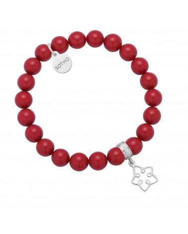 Czerwona bransoletka z pereł SWAROVSKI® CRYSTAL ze srebrną ażurową gwiazdką