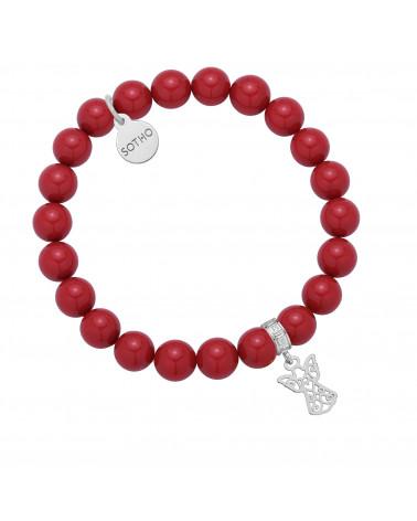 Czerwona bransoletka z pereł SWAROVSKI® CRYSTAL ze srebrnym ażurowym aniołkiem