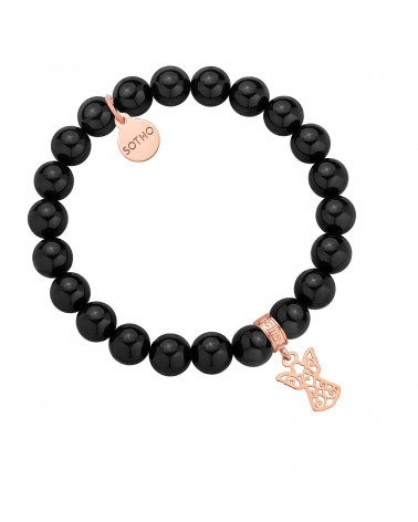 Czarna bransoletka z pereł SWAROVSKI® CRYSTAL z ażurowym aniołkiem z różowego złota
