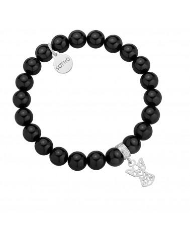 Czarna bransoletka z pereł SWAROVSKI® CRYSTAL ze srebrnym ażurowym aniołkiem