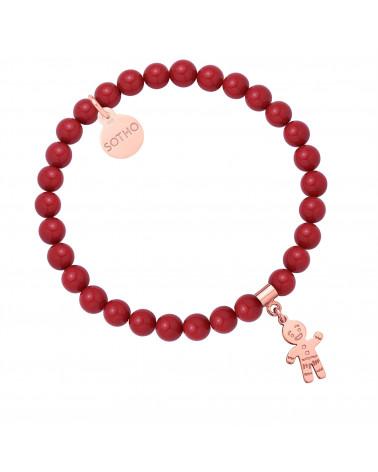 Czerwona bransoletka z pereł SWAROVSKI® CRYSTAL z Ciastkiem z różowego złota