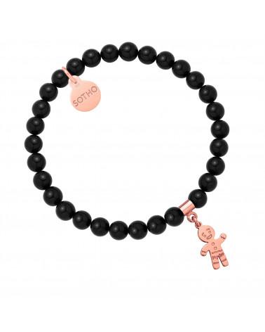 Czarna bransoletka z pereł SWAROVSKI® CRYSTAL z Ciastkiem z różowego złota