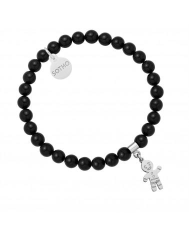 Czarna bransoletka z pereł SWAROVSKI® CRYSTAL ze srebrnym Ciastkiem