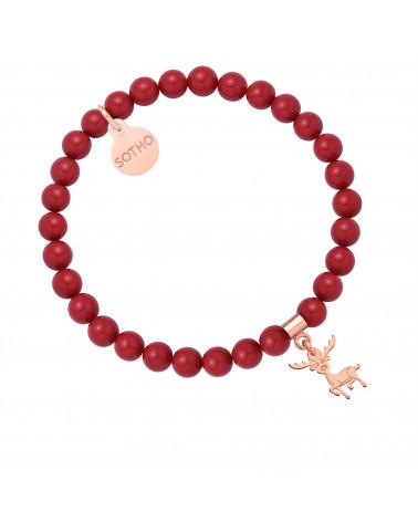 Czerwona bransoletka z pereł SWAROVSKI® CRYSTAL z reniferkiem w różowym złocie