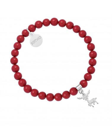 Czerwona bransoletka z pereł SWAROVSKI® CRYSTAL ze srebrnym reniferkiem