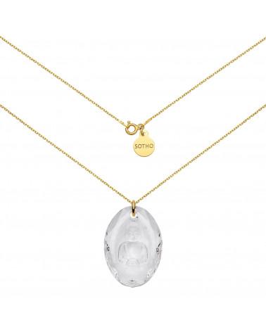 Długi złoty naszyjnik z kryształowym Buddą SWAROVSKI® CRYSTAL