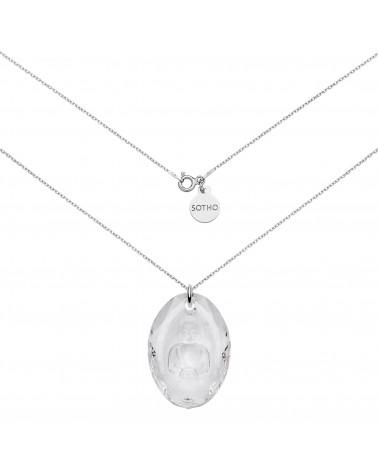 Długi srebrny naszyjnik z kryształowym Buddą SWAROVSKI® CRYSTAL
