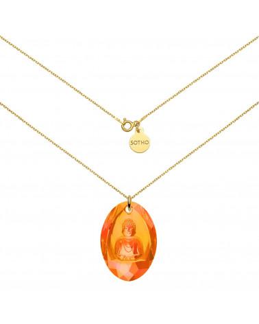 Długi złoty naszyjnik z pomarańczowym opalizującym Buddą SWAROVSKI® CRYSTAL