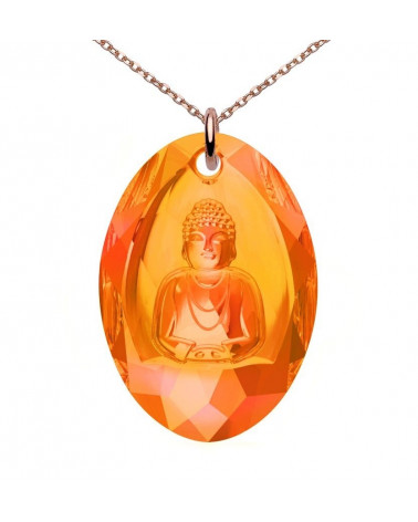 Długi naszyjnik z różowego złota z pomarańczowym Buddą SWAROVSKI® CRYSTAL