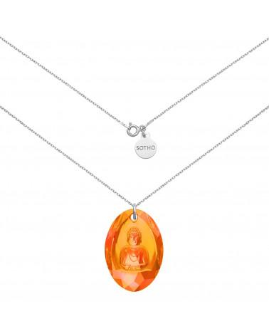 Długi srebrny naszyjnik z pomarańczowym opalizującym Buddą SWAROVSKI® CRYSTAL