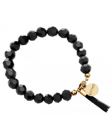 Czarna bransoletka z kryształów SWAROVSKI® CRYSTAL zdobiona chwostem