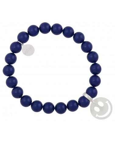 Granatowa bransoletka perły SWAROVSKI® ELEMENTS ze srebrnym uśmiechem