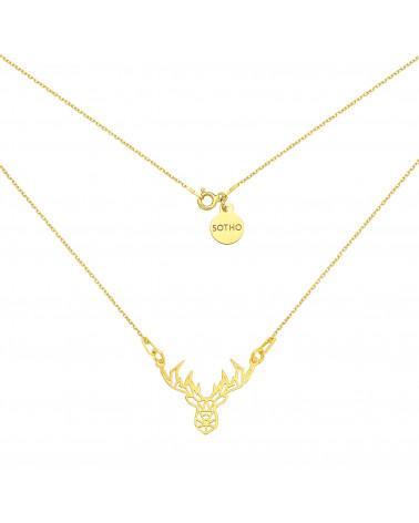Złoty naszyjnik z ażurowym jelonkiem